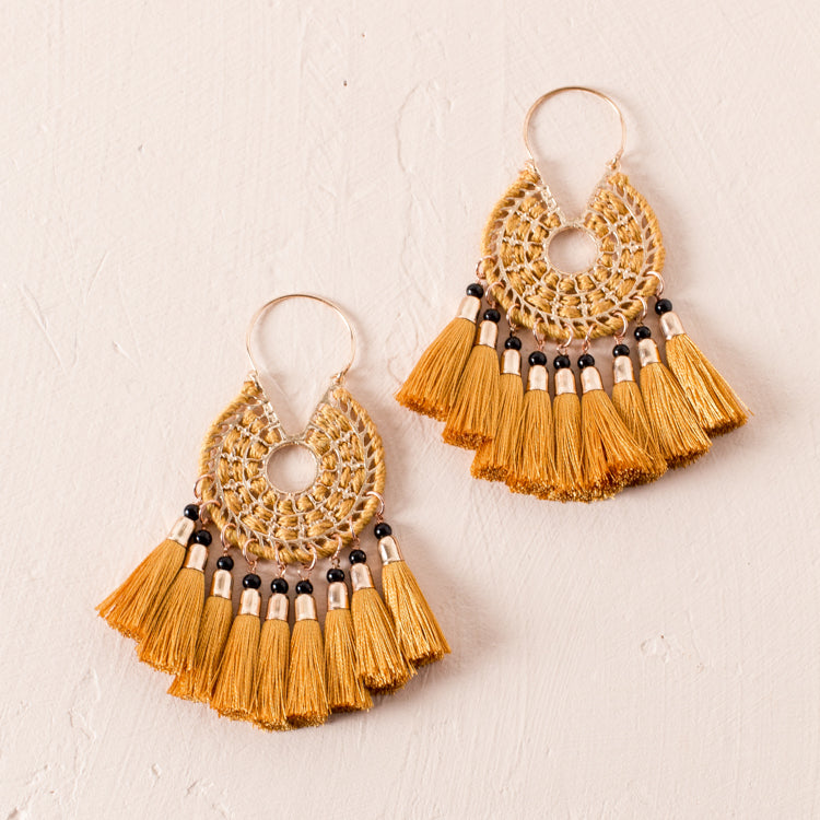 Wrapped Wheel Tassel Earrings