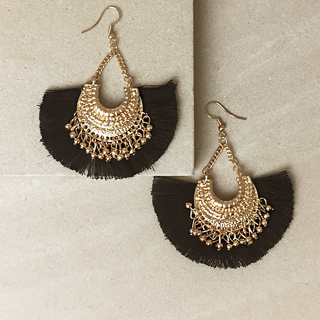 Black Fringe Hook Earrings