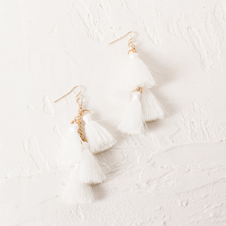 White Multi Tassel Gold Hook Earrings