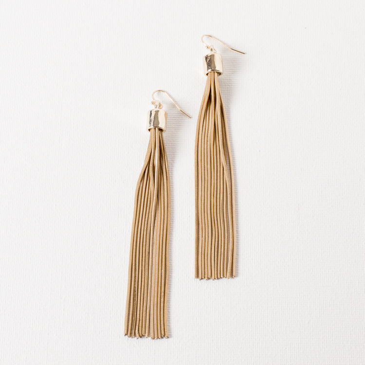 Faceted Snake Chain Tassel Earrings
