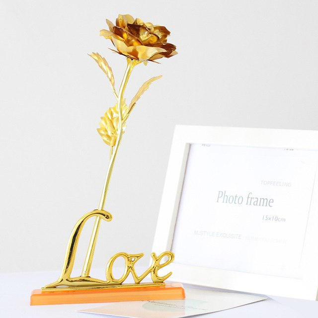 24K Foil Plated Golden Rose