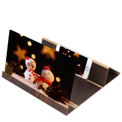 3D Stereoscopic Amplifying 12 Inch Desktop Wood Bracket