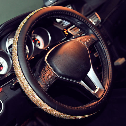 Image of Fully Crystallised Leather Steering Wheel Cover