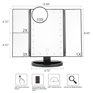 LED Lighted Vanity Trifold Makeup Mirror