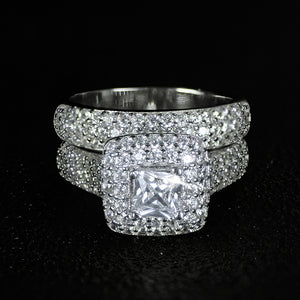Luxurious Engagement Wedding Ring Set 925 Sterling Silver