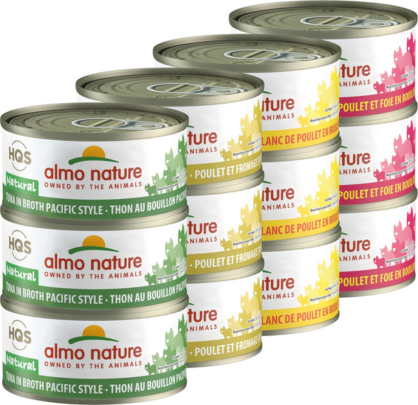 Almo Nature - HQS Natural Pacific Tuna, Chicken & Cheese, Chicken Breast, Chicken & Liver Variety Pack (Wet Cat Food)