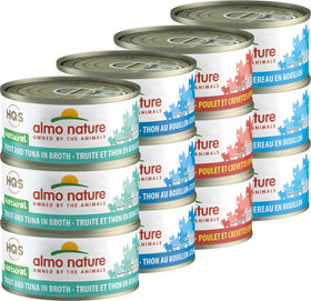Almo Nature - HQS Natural Tuna, Mackerel, Chicken & Shrimp, Trout & Tuna Variety Pack (Wet Cat Food)