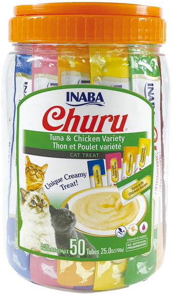 Inaba - Churu Purees - Tuna & Chicken Varieties 50 Tubes (Treat for Cats)