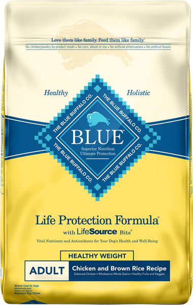 Blue Buffalo - Life Protection Formula - Healthy Weight Chicken & Brown Rice Recipe (Adult Dry Dog Food) - ARMOR THE POOCH
