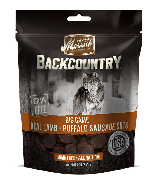 Merrick - Backcountry Big Game Real Lamb & Buffalo Sausage Cuts- Grain Free Treat for Adult Dogs