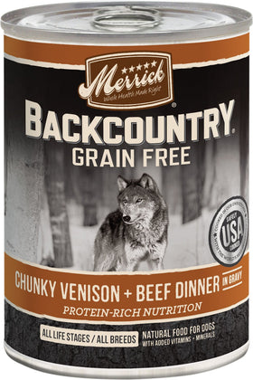 Merrick - Backcountry Chunky Venison + Beef Dinner In Gravy (Grain Free Wet Dog Food)