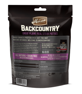 Merrick - Backcountry Great Plains Real Steak Patties - Grain Free Treat for Adult Dogs