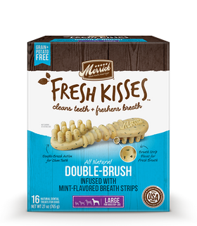 Merrick - Grain-Free Fresh Kisses Double Brush Mint Breath Strips - Large Dogs