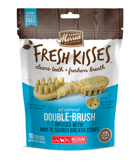 Merrick - Grain-Free Fresh Kisses Double Brush Mint Breath Strips - Medium Dogs