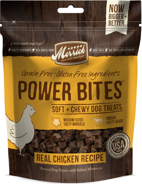 Merrick - Grain-Free Power Bites - Real Chicken Recipe - Treat for Adult Dogs