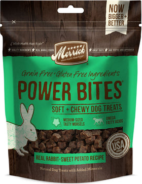 Merrick - Grain-Free Power Bites - Real Rabbit & Sweet Potato Recipe - Treat for Adult Dogs
