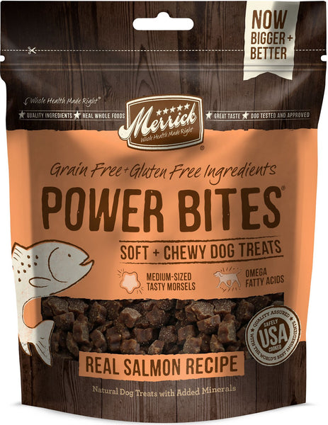 Merrick - Grain-Free Power Bites - Real Salmon Recipe - Treat for Adult Dogs