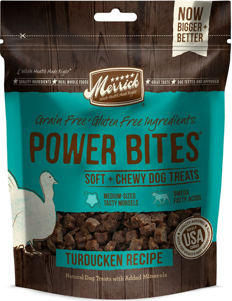 Merrick - Grain-Free Power Bites - Turducken Recipe - Treat for Adult Dogs