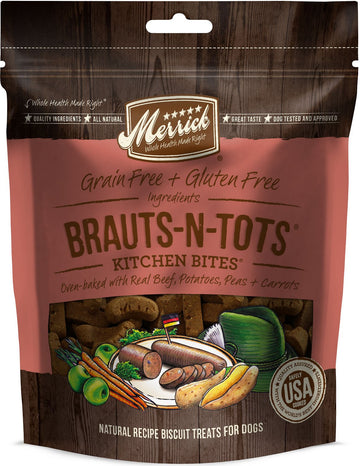 Merrick - Kitchen Bites - Brauts-N-Tots - Grain-Free Treat for Adult Dogs