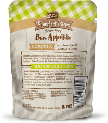 Merrick - Purrfect Bistro Bon Appétits Turkey Recipe Morsels in Gravy (Grain Free Adult Wet Cat Food)