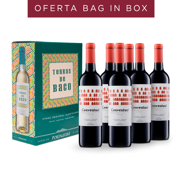 Pack: 6 Conventual Tinto 2017 + Oferta 1 Bag In Box Terras de Baco Branco 2018