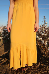 Love at First Sight Gold Maxi Dress