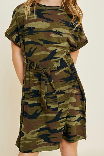 Camo Tie Front T-Shirt Dress