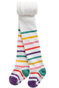 Striped Footed tights - White Multi