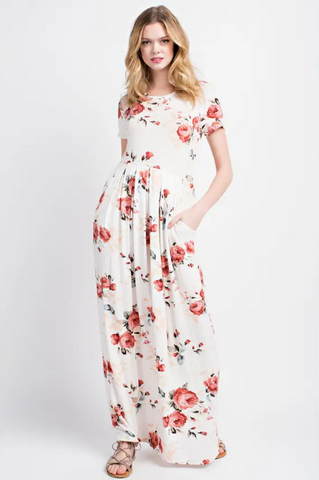 Mocha Short Sleeve Floral Maxi Dress