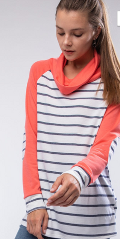 Coral and Striped Cowl Neck Top