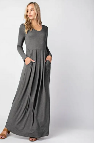 Gray Long Sleeve Maxi Dress