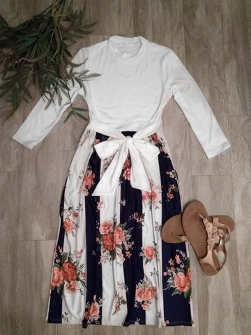 Navy Stripe with Floral Contrast Midi Dress