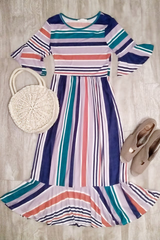 Striped Hi-Low Midi Dress