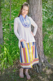 Multi-Color Striped Button Down Midi Skirt