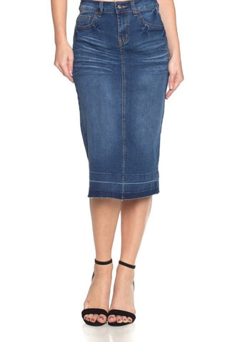 Indigo Washed Midi Denim Skirt
