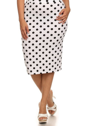 White and Black Polka Dot Pencil Skirt
