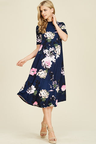 Navy Blue Flared Midi Dress with Bold Floral Print