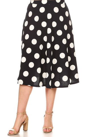 Navy and White Polka Dot A-Line Skirt
