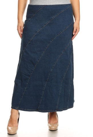 A-Line Long Denim Skirt
