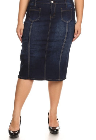 Dark Indigo Midi Denim Skirt with Front Pockets