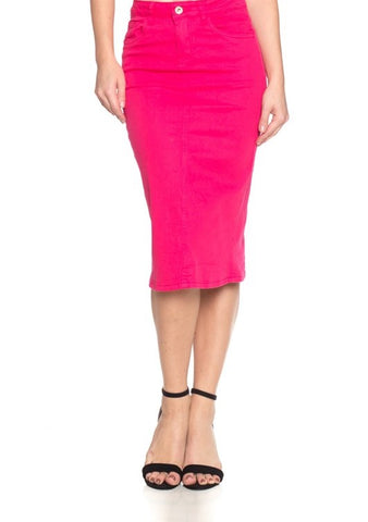 Fuchsia Midi Denim Skirt
