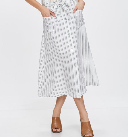 Striped Button Down Midi Skirt
