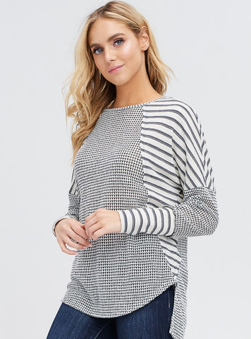 Block Printed Ribbed Sweater with Dolman Sleeves
