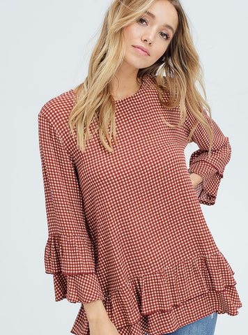 Rust and Cream Printed Top with Layered Bell Sleeves