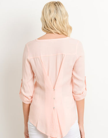 Blush Blouse with Buttoned Back Detail