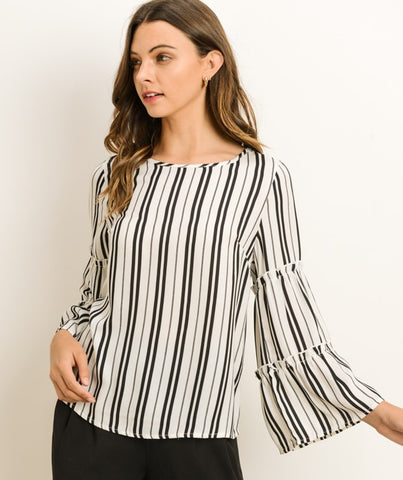 Striped Top with Layered Bell Sleeves