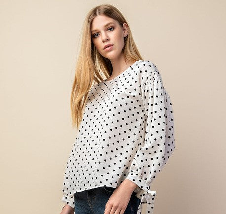 Polka Dot Smocked Sleeve Top