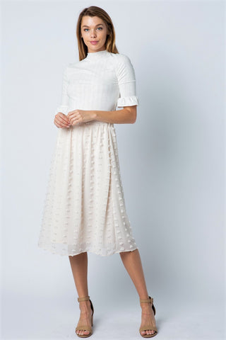 Ivory Swiss Dot Midi Skirt