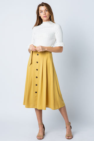 High Waisted Button Down Midi Skirt