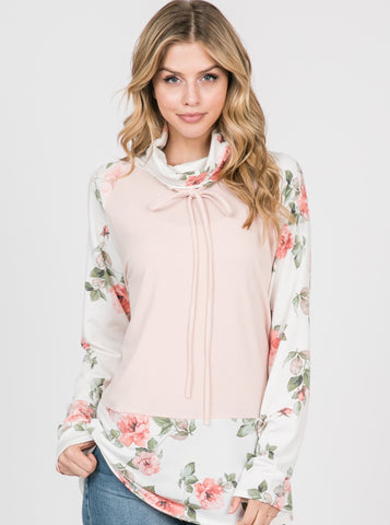 Blush and Floral Print French Terry Cowl Neck Top